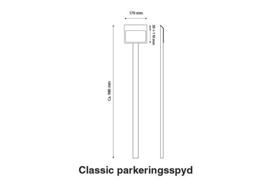Hvidt parkeringsskilt med piktogram