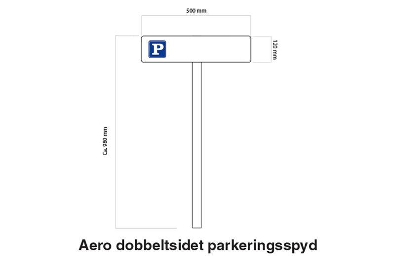 Tegning af Aero parkeringsskilt på spyd