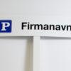 P-skilt med firmanavn