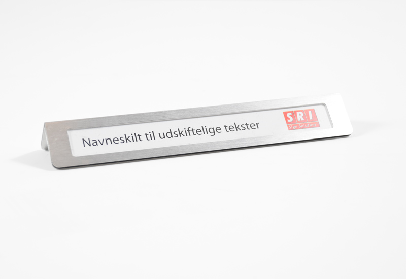 Bordskilt - udskifteligt navn - rustfri stål look