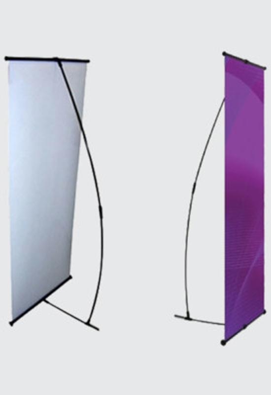 L-Banner i sort med valgfriprint