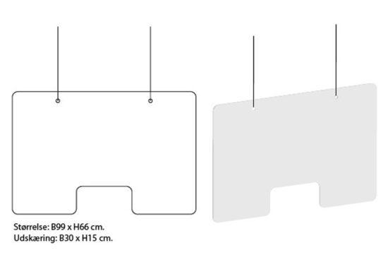 Afskærmningsrude - klar akryl - over borde og skranke