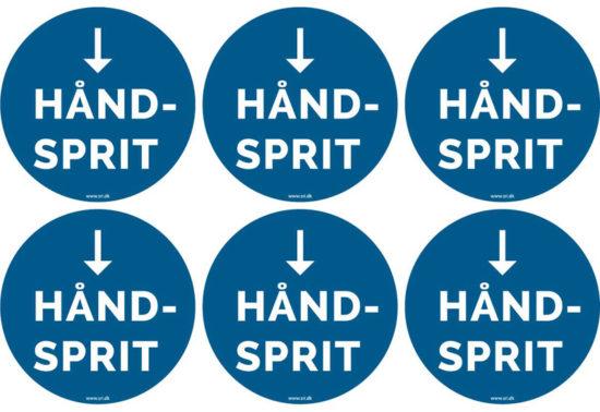 Håndsprit - vis vej - pil ned
