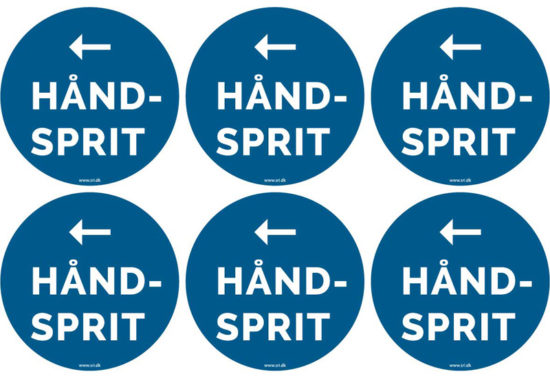 Håndsprit - vis vej - pil til venstre