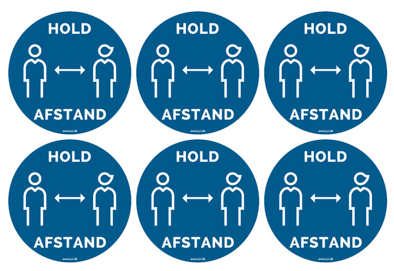 6 stk. hold afstand stickers - SRI