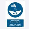 Vask hænder Brug Håndsprit skilt