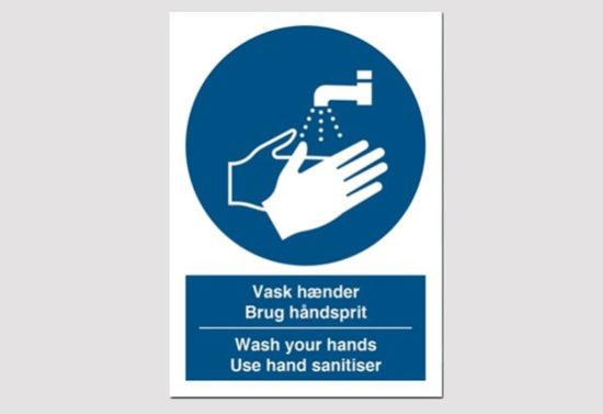 vask hænder - brug håndsprit - påbudsskilt