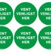 Grønne Vent Venligst her stickers